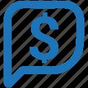 bubble, chat bubble, dollar, message, sale offer