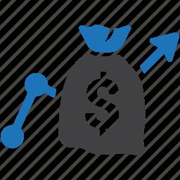 analysis, analytics, business, financial, money bag, report, statistics icon