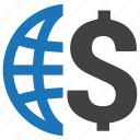 business, dollar, economy, finance, global, globe, money icon