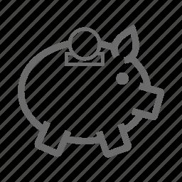 banking, business, finance, money, piggy, save icon