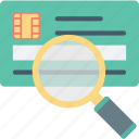 atm card, card expiry, card scanning, credit card, magnifying icon
