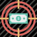dollar, earning target, finance, money target, profit target icon