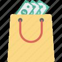 bag, cash, dollar, money bag, tote bag icon