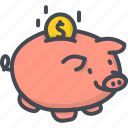 bank, business, coin, filled, money, outline, piggy