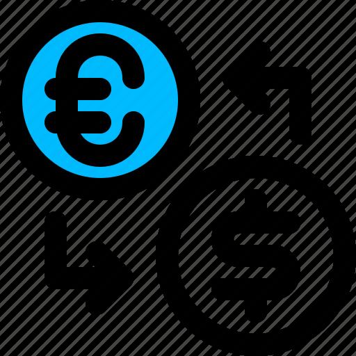 dollar, euro, exchange, money icon