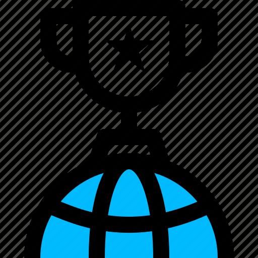 achievement, award, globe, trophy, winner icon