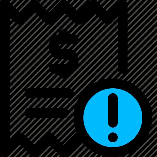 bill, error, invoice, problem icon