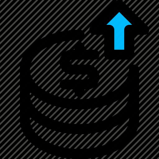 coin, increase, money, saving icon