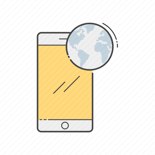 connection, discover, global, mobile, network, phone, world icon