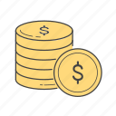 capital, coins, dollars, finance, money icon