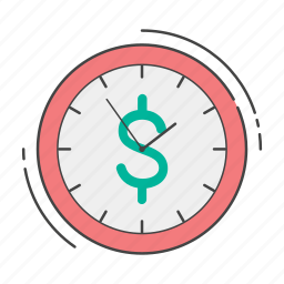 clock, dollar, hourly, investment, management, money, rate icon