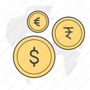 coins, currency, dollar, euro, exchange, rupee