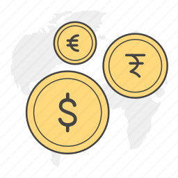 coins, currency, dollar, euro, exchange, rupee icon