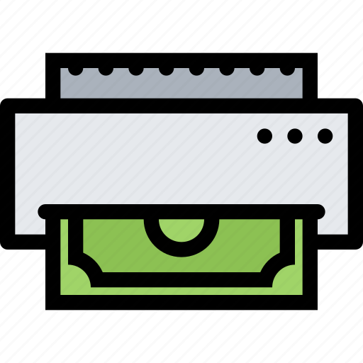 bank, business, currency, finance, money, money printing icon