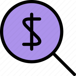 bank, business, currency, finance, money, money search icon