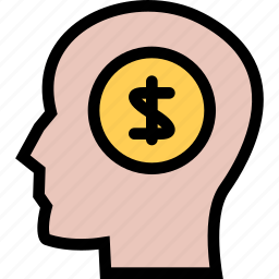 bank, business, currency, finance, money, money thinking icon