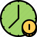 bank, business, currency, finance, money, time icon