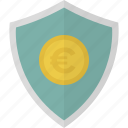 euro, money, safe, security, shield icon