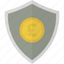 money, pound, safe, security, shield icon