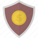 dollar, money, safe, security, shield icon