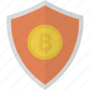 bitcoin, crypto, cryptocurrency, money, safe, security, shield icon
