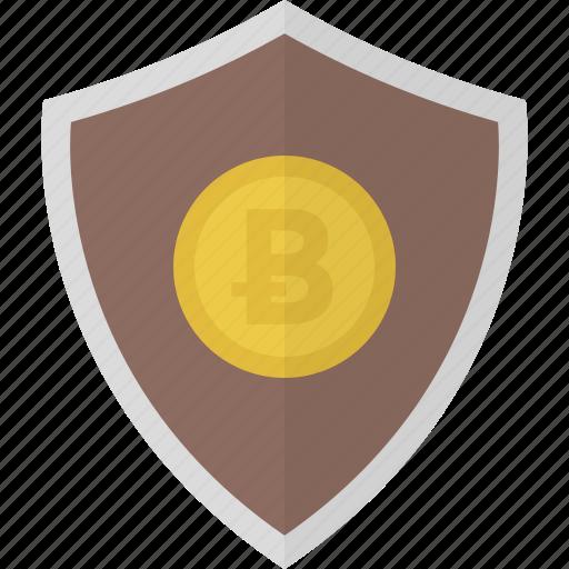 bitcoin, money, safe, security, shield icon
