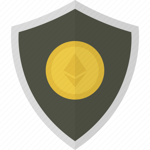 ether, ethereum, money, safe, security, shield icon