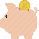 bitcoin, budget, piggy bank, piggybank, savings icon