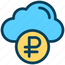finance, currency, money, ruble, cloud, coin