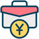 finance, currency, money, yen, bag, briefcase