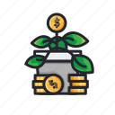 coin, finance, financial, growth, investment, money, plant icon