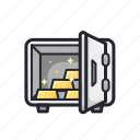 finance, financial, gold, safe, secure icon