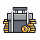 bag, coin, finance, financing, money, suitcase icon