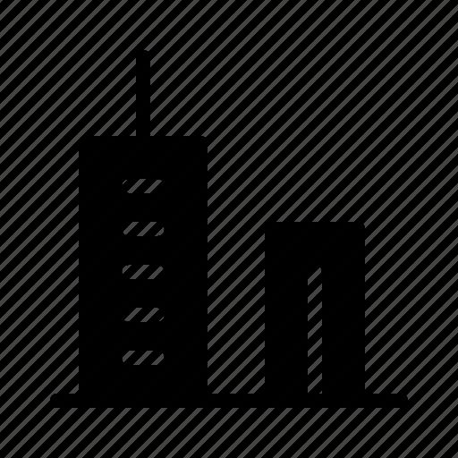 bank, cash, finance, money, skyscraper icon