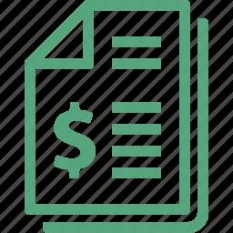 bill, finance, invoice, receipt icon