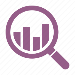 analysis, analytics, finance, graph, growth, magnifying glass, search icon