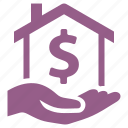 finance, hand, home mortgage, loan icon
