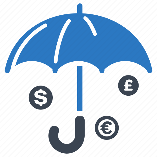 finance insurance, protection, secure investment, umbrella icon