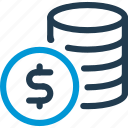 coin, cost, dollar, finance, money, price, stack icon