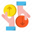 currency, exchange, finance, hand, money icon