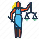 justice, ladyjustice, law, scales, sword icon