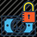 cash, finance, lock, money, moneysaving, saving icon