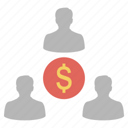 businessman, dollar, finance, group, investor, money, team icon