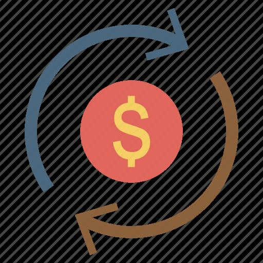 dollar, finance, investment, money, return, rotation icon