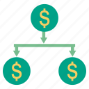 chart, dollar, finance, fund, investment, tree icon