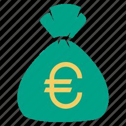 bag, bank, cash, euro, finance, money icon