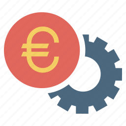 euro, finance, money, payment, settings, wheel icon