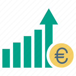 business, chart, euro, finance, growth, sucess icon