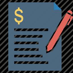 bill, challan, document, dollar, finance, loan, quotation icon