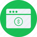 browser, business, cash, currency, finance, money icon